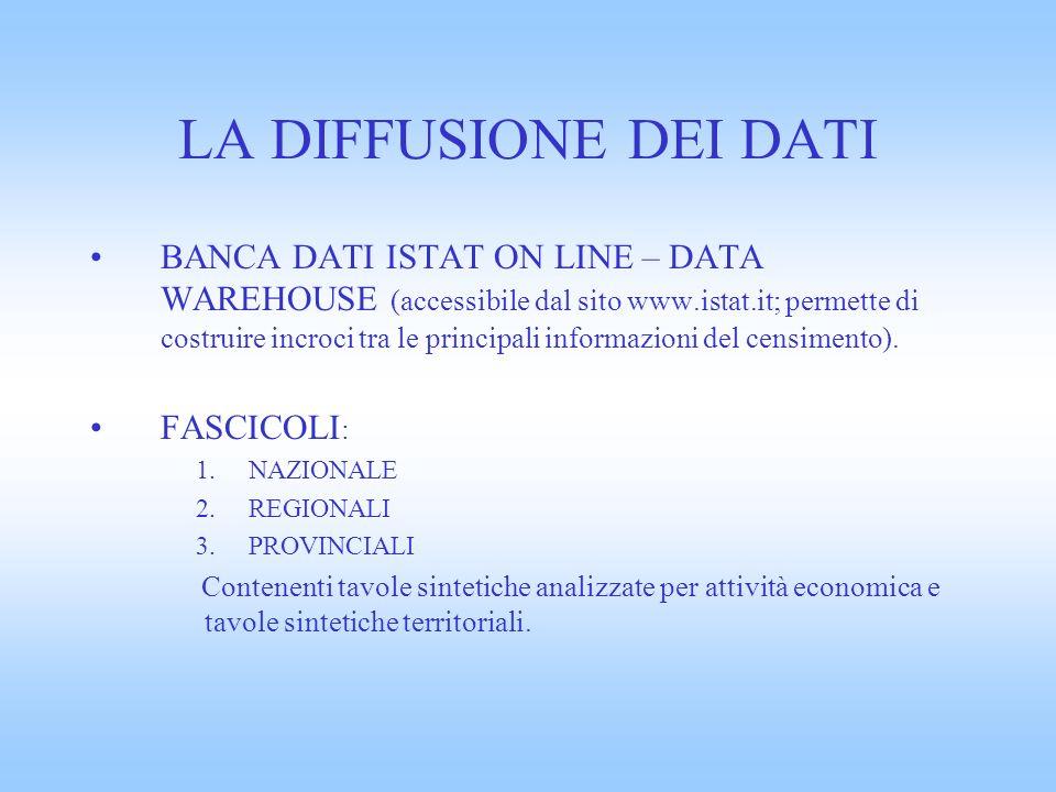 LA DIFFUSIONE DEI DATI BANCA DATI ISTAT ON LINE – DATA WAREHOUSE (accessibile dal sito www.istat.it; permette di costruire incroci tra le principali informazioni del censimento).