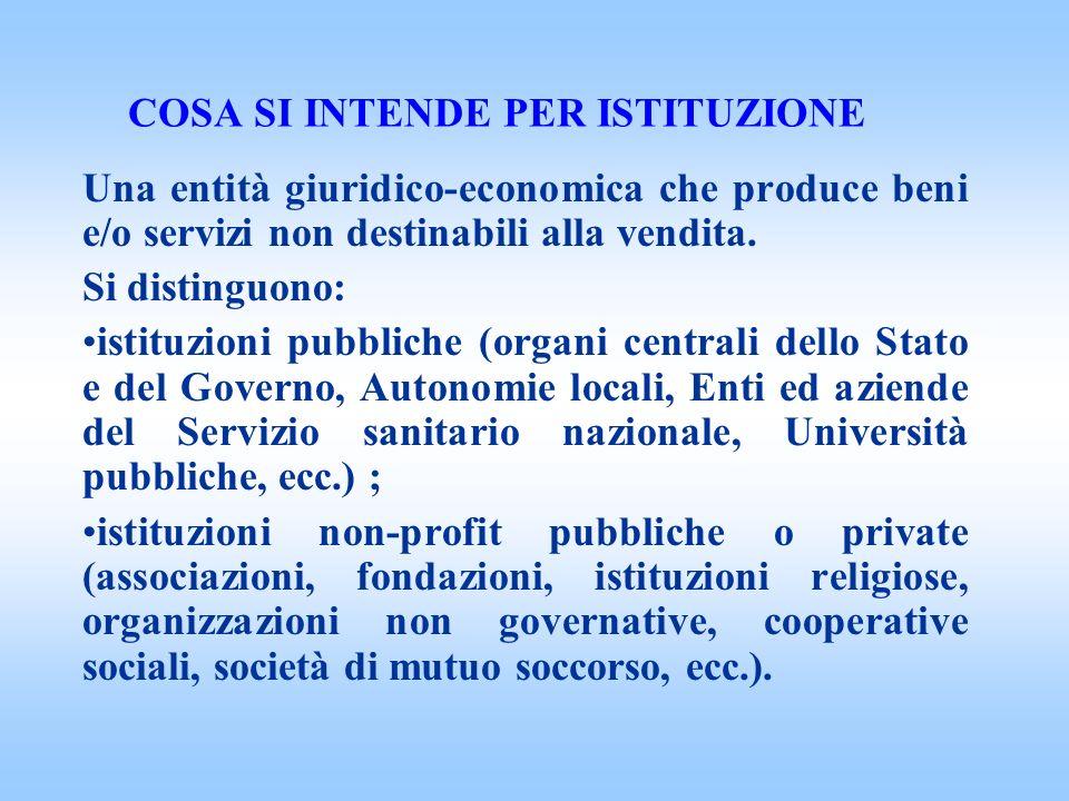COSA SI INTENDE PER ISTITUZIONE Una entità giuridico-economica che produce beni e/o servizi non destinabili alla vendita.