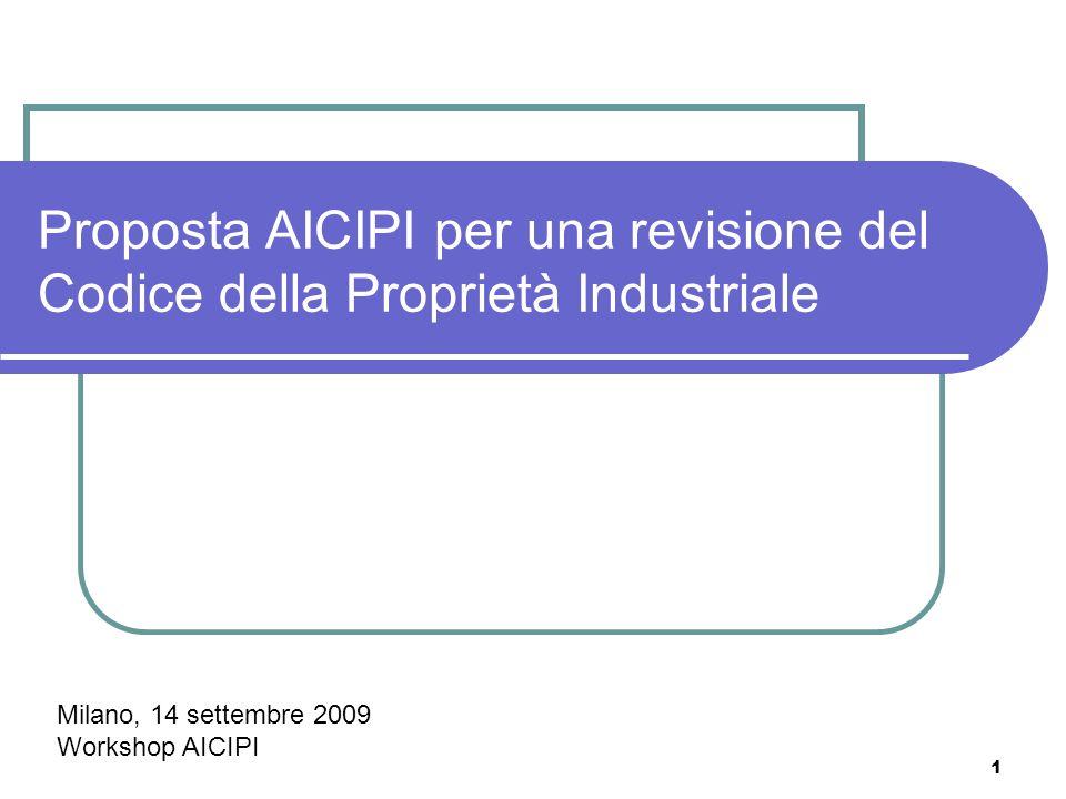 1 Proposta AICIPI per una revisione del Codice della Proprietà Industriale Milano, 14 settembre 2009 Workshop AICIPI