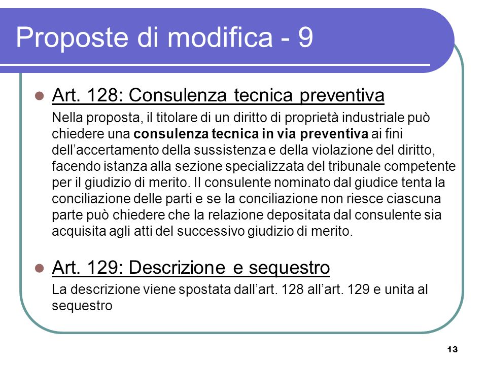 13 Proposte di modifica - 9 Art.