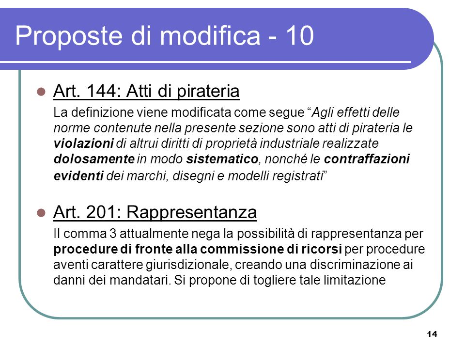 14 Proposte di modifica - 10 Art.
