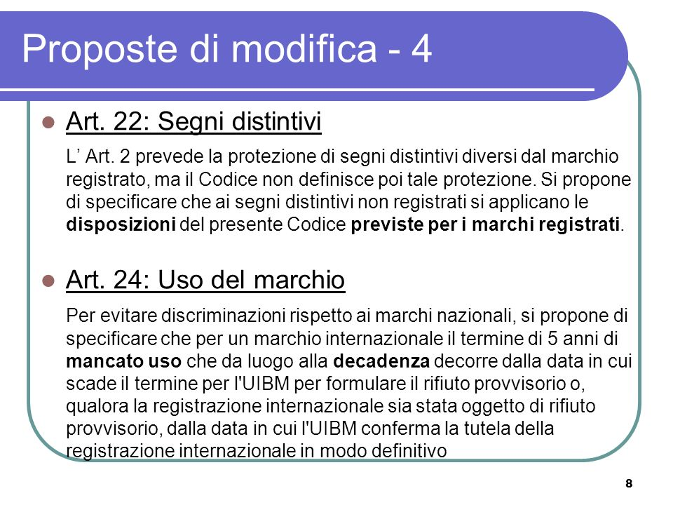 9 Proposte di modifica - 5 Art.