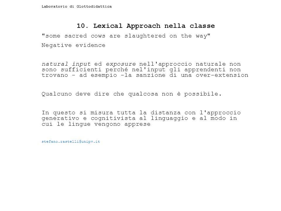 Laboratorio di Glottodidattica 10. Lexical Approach nella classe