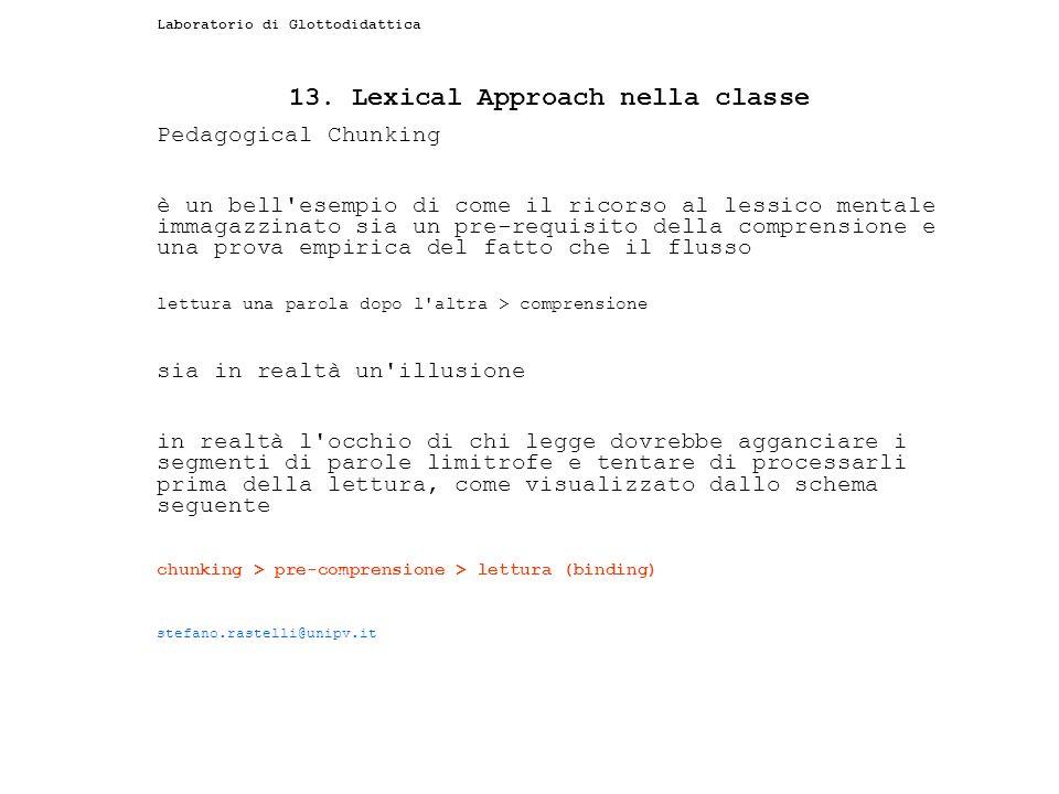 Laboratorio di Glottodidattica 13. Lexical Approach nella classe Pedagogical Chunking è un bell'esempio di come il ricorso al lessico mentale immagazz