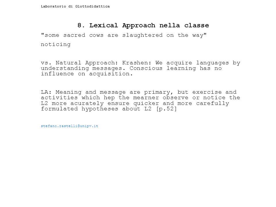 Laboratorio di Glottodidattica 8. Lexical Approach nella classe