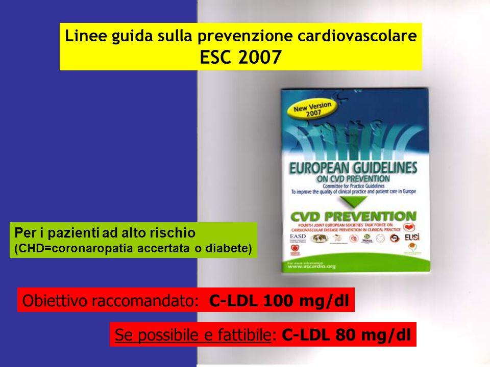 L Linee guida sulla prevenzione cardiovascolare ESC 2007 Per i pazienti ad alto rischio (CHD=coronaropatia accertata o diabete) Obiettivo raccomandato