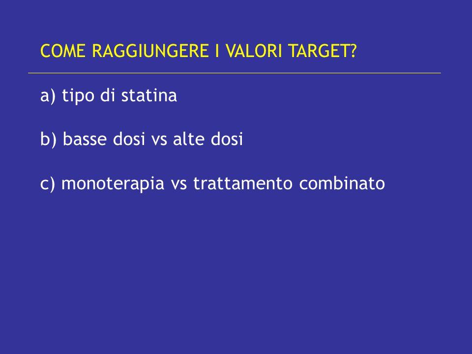 COME RAGGIUNGERE I VALORI TARGET? a) tipo di statina b) basse dosi vs alte dosi c) monoterapia vs trattamento combinato