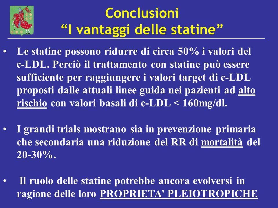 Conclusioni I vantaggi delle statine Le statine possono ridurre di circa 50% i valori del c-LDL. Perciò il trattamento con statine può essere sufficie