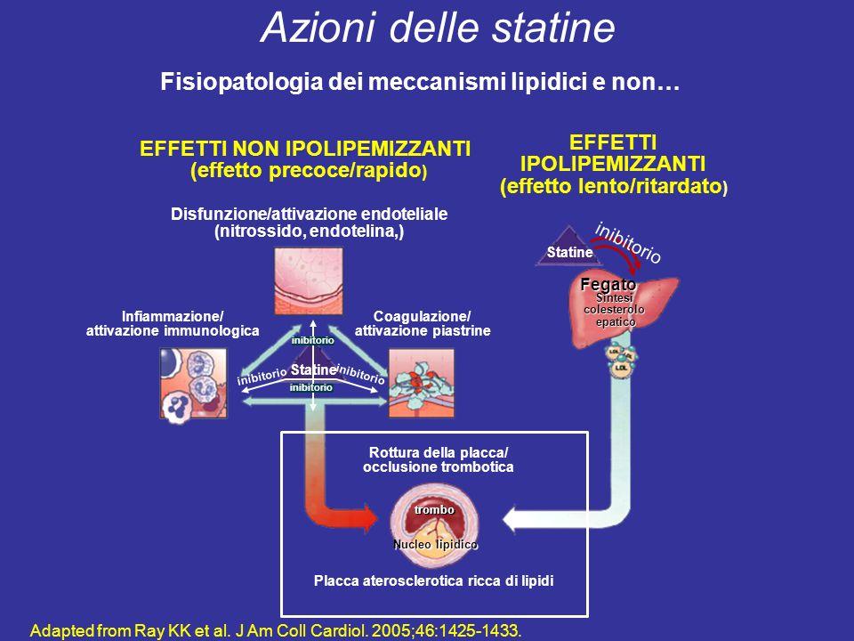 Adapted from Ray KK et al. J Am Coll Cardiol. 2005;46:1425-1433. EFFETTI NON IPOLIPEMIZZANTI (effetto precoce/rapido ) EFFETTI IPOLIPEMIZZANTI (effett