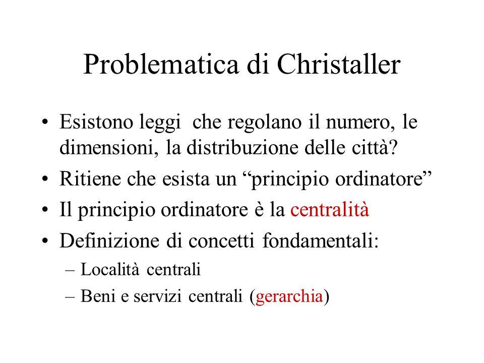 Problematica di Christaller Esistono leggi che regolano il numero, le dimensioni, la distribuzione delle città? Ritiene che esista un principio ordina