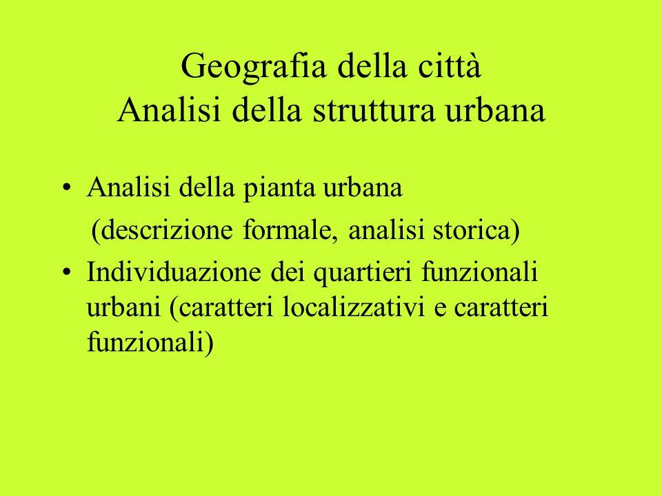 Geografia della città Analisi della struttura urbana Analisi della pianta urbana (descrizione formale, analisi storica) Individuazione dei quartieri f