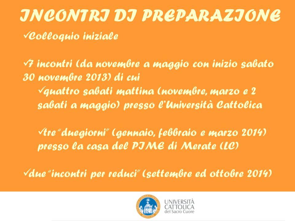 INCONTRI DI PREPARAZIONE Colloquio iniziale 7 incontri (da novembre a maggio con inizio sabato 30 novembre 2013) di cui quattro sabati mattina (novemb