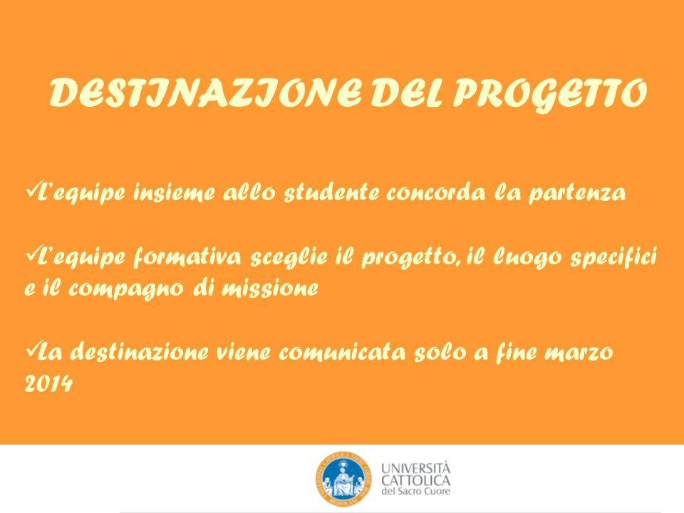 DESTINAZIONE DEL PROGETTO Lequipe insieme allo studente concorda la partenza Lequipe formativa sceglie il progetto, il luogo specifici e il compagno d