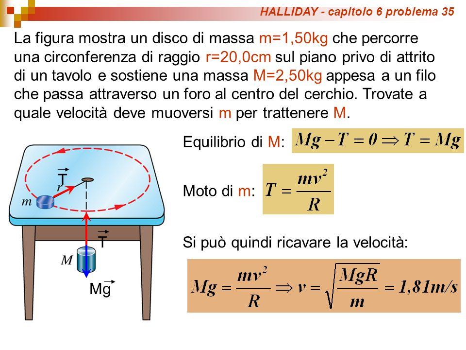 HALLIDAY - capitolo 6 problema 35 La figura mostra un disco di massa m=1,50kg che percorre una circonferenza di raggio r=20,0cm sul piano privo di att