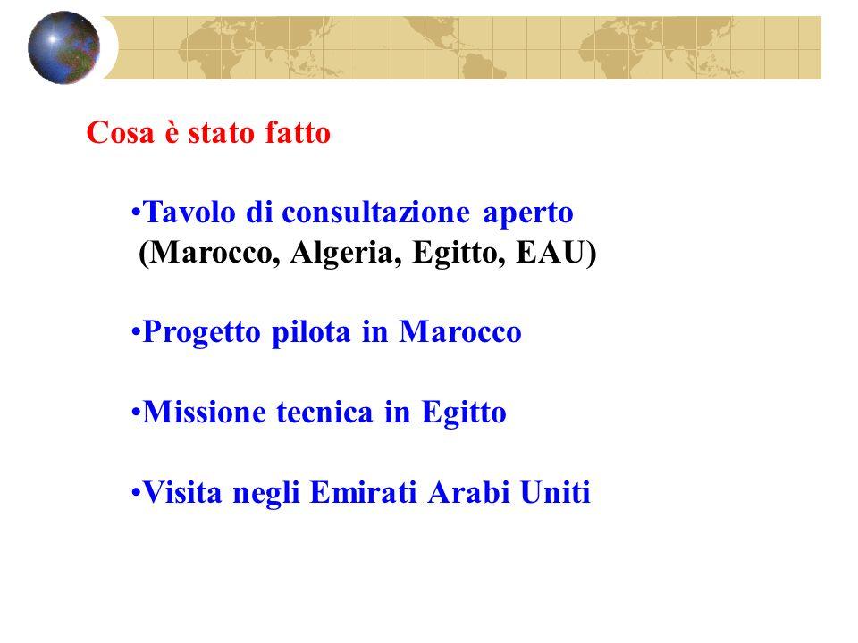 Tavolo di consultazione aperto (Marocco, Algeria, Egitto, EAU) Progetto pilota in Marocco Missione tecnica in Egitto Visita negli Emirati Arabi Uniti