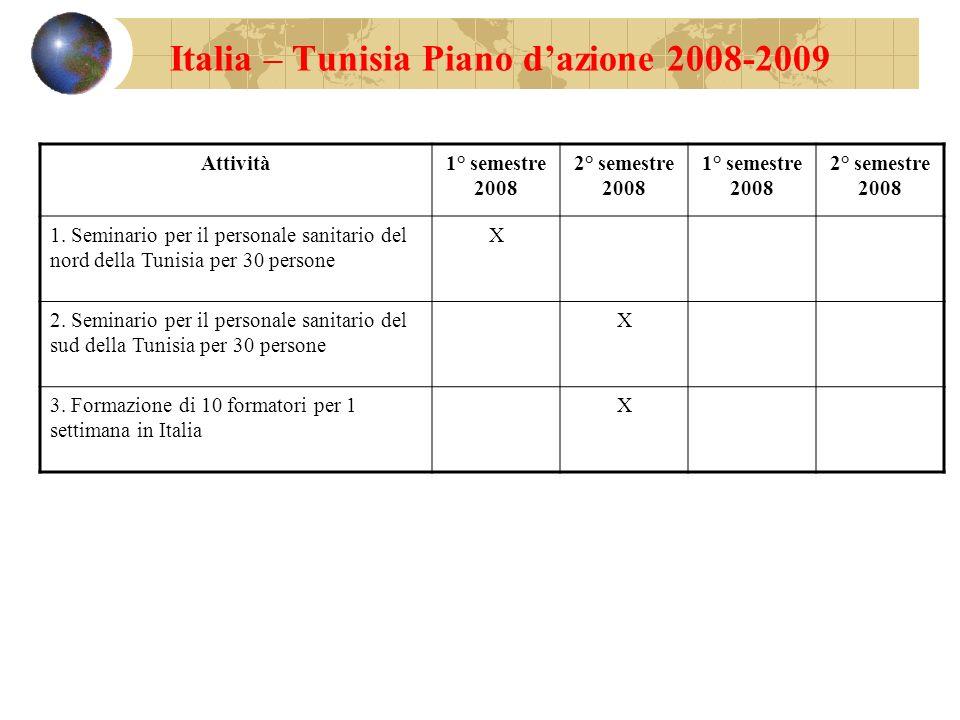 Italia – Tunisia Piano dazione 2008-2009 Attività1° semestre 2008 2° semestre 2008 1° semestre 2008 2° semestre 2008 1. Seminario per il personale san