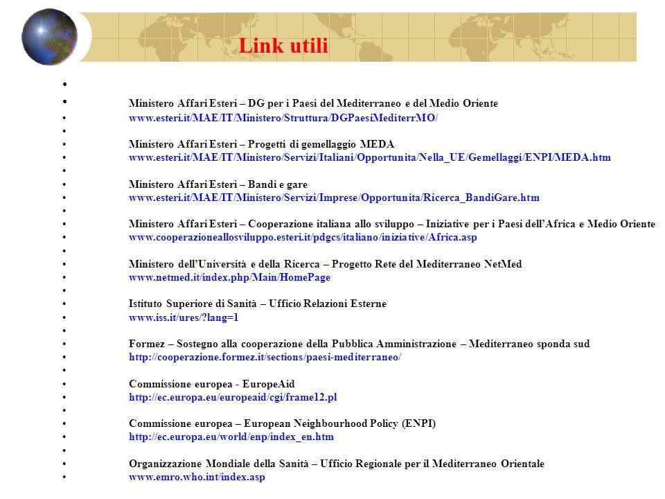 Link utili Ministero Affari Esteri – DG per i Paesi del Mediterraneo e del Medio Oriente www.esteri.it/MAE/IT/Ministero/Struttura/DGPaesiMediterrMO/ M