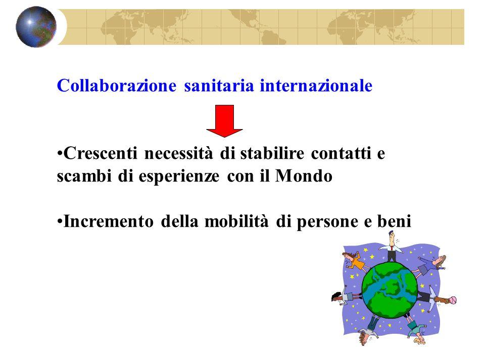 Collaborazione sanitaria internazionale Crescenti necessità di stabilire contatti e scambi di esperienze con il Mondo Incremento della mobilità di per