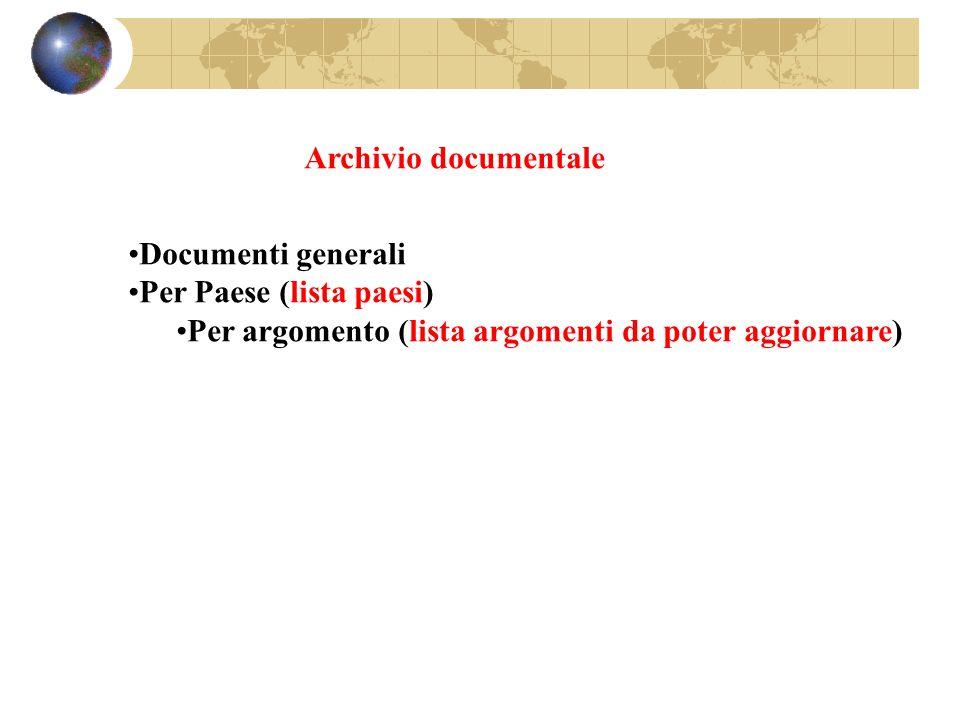 Archivio documentale Documenti generali Per Paese (lista paesi) Per argomento (lista argomenti da poter aggiornare)