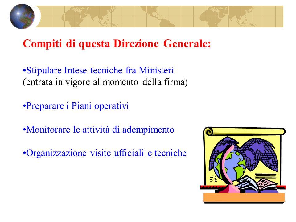Compiti di questa Direzione Generale: Stipulare Intese tecniche fra Ministeri (entrata in vigore al momento della firma) Preparare i Piani operativi M