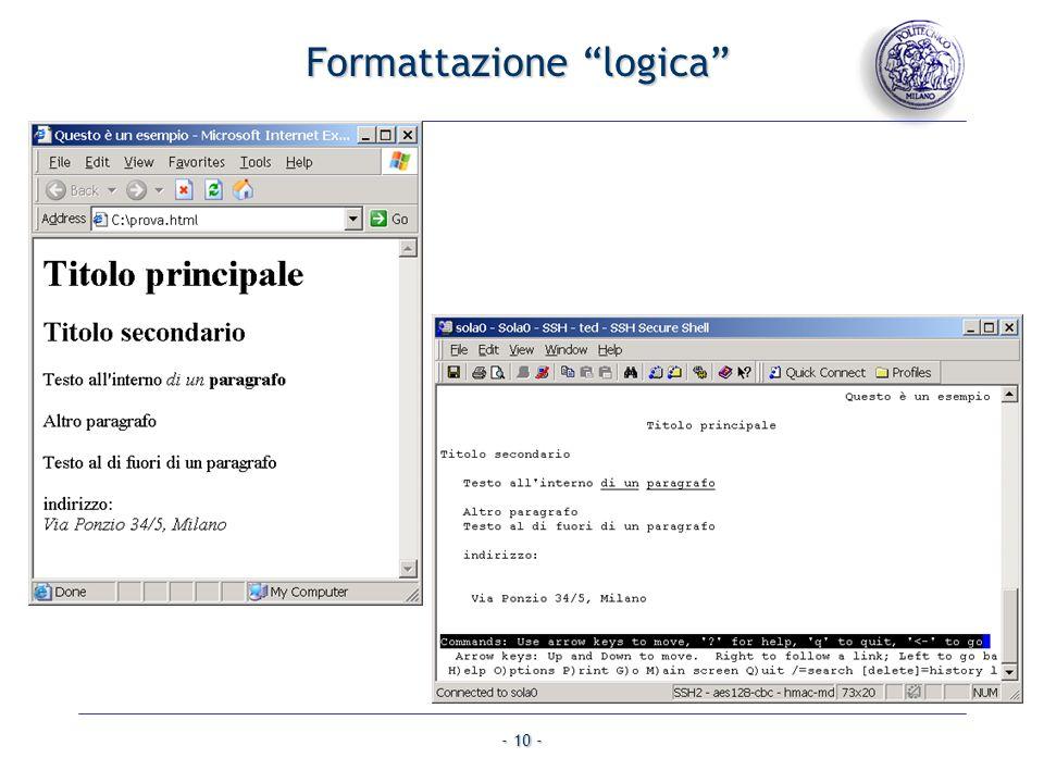 - 10 - Formattazione logica