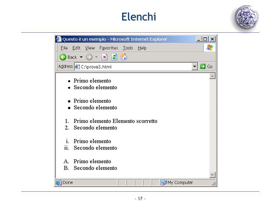 - 17 - Elenchi