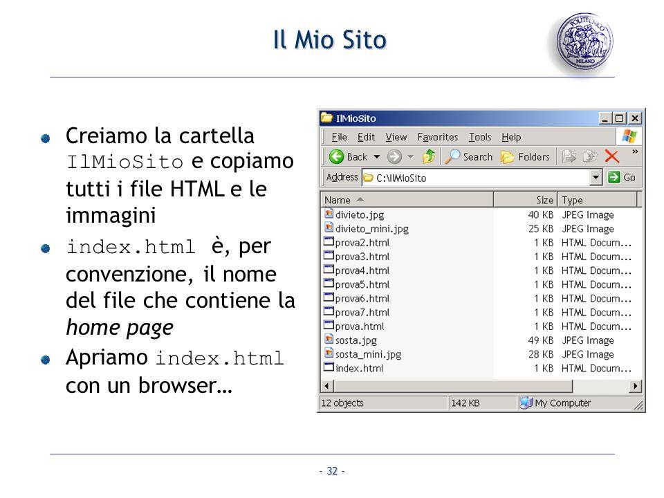 - 32 - Il Mio Sito Creiamo la cartella IlMioSito e copiamo tutti i file HTML e le immagini index.html è, per convenzione, il nome del file che contien