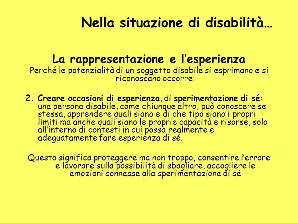 Nella situazione di disabilità… La rappresentazione e lesperienza Perché le potenzialità di un soggetto disabile si esprimano e si riconoscano occorre