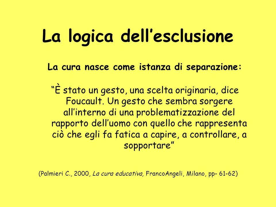La logica dellesclusione La cura nasce come istanza di separazione: È stato un gesto, una scelta originaria, dice Foucault. Un gesto che sembra sorger