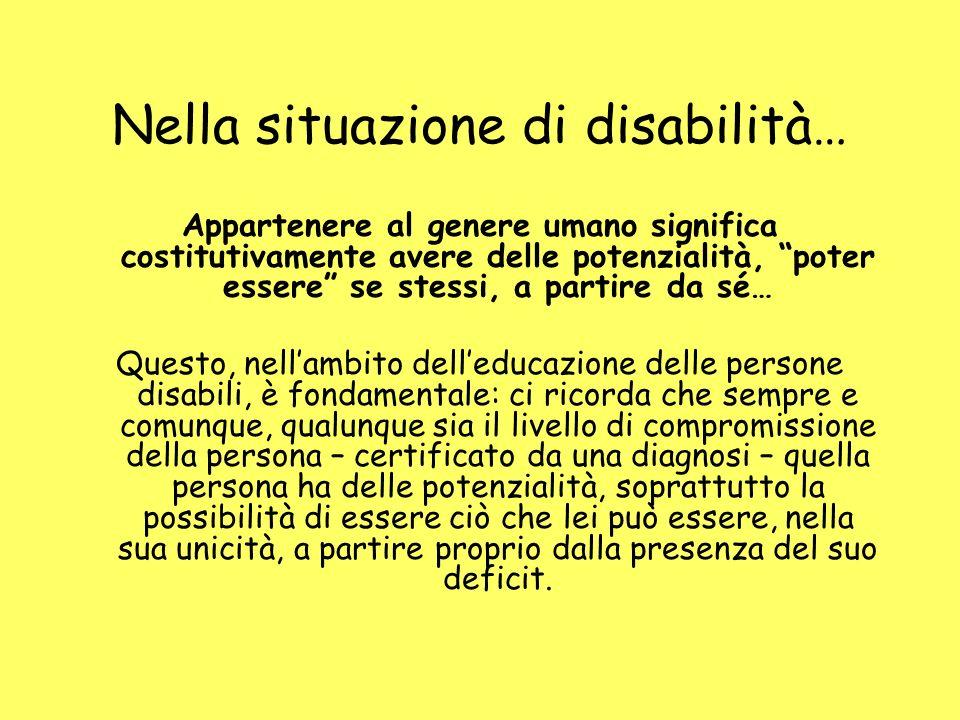 Nella situazione di disabilità… Appartenere al genere umano significa costitutivamente avere delle potenzialità, poter essere se stessi, a partire da