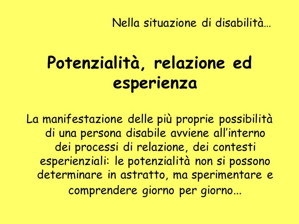 Nella situazione di disabilità… Potenzialità, relazione ed esperienza La manifestazione delle più proprie possibilità di una persona disabile avviene
