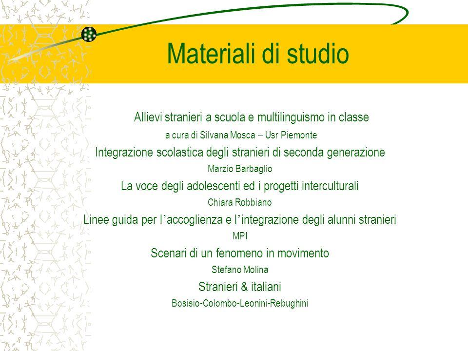 Materiali di studio Allievi stranieri a scuola e multilinguismo in classe a cura di Silvana Mosca – Usr Piemonte Integrazione scolastica degli stranie