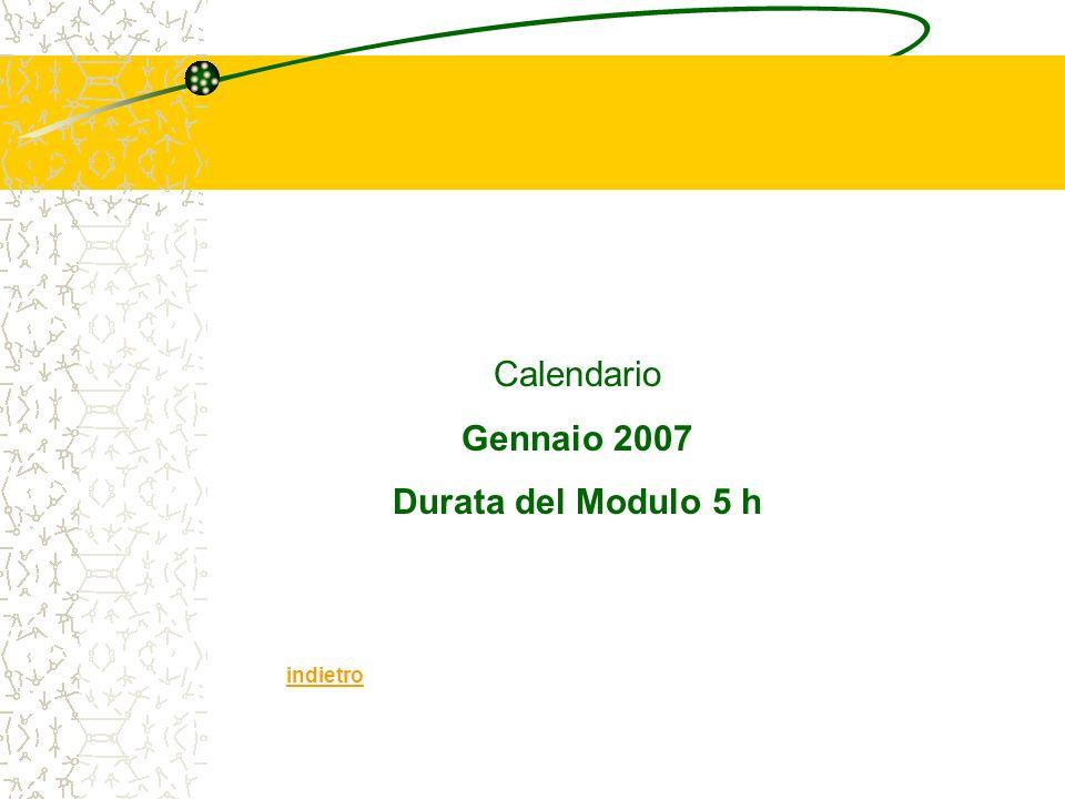 Calendario Gennaio 2007 Durata del Modulo 5 h indietro