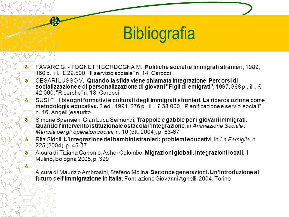 Bibliografia FAVARO G. - TOGNETTI BORDOGNA M., Politiche sociali e immigrati stranieri, 1989, 160 p., ill., £ 29.500,