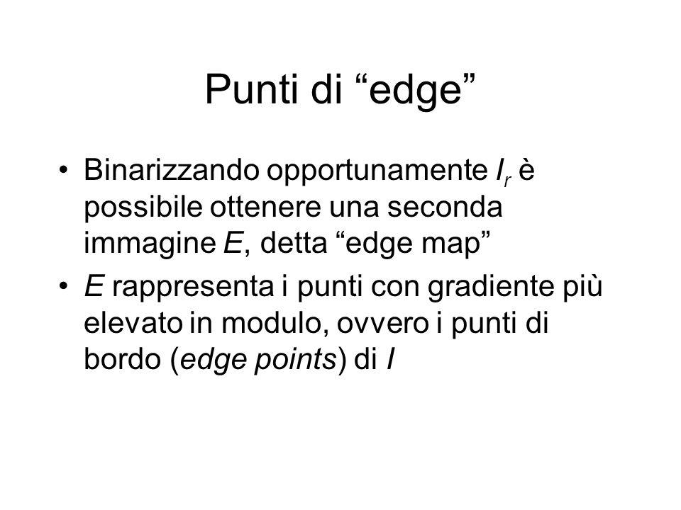 Punti di edge Binarizzando opportunamente I r è possibile ottenere una seconda immagine E, detta edge map E rappresenta i punti con gradiente più elevato in modulo, ovvero i punti di bordo (edge points) di I