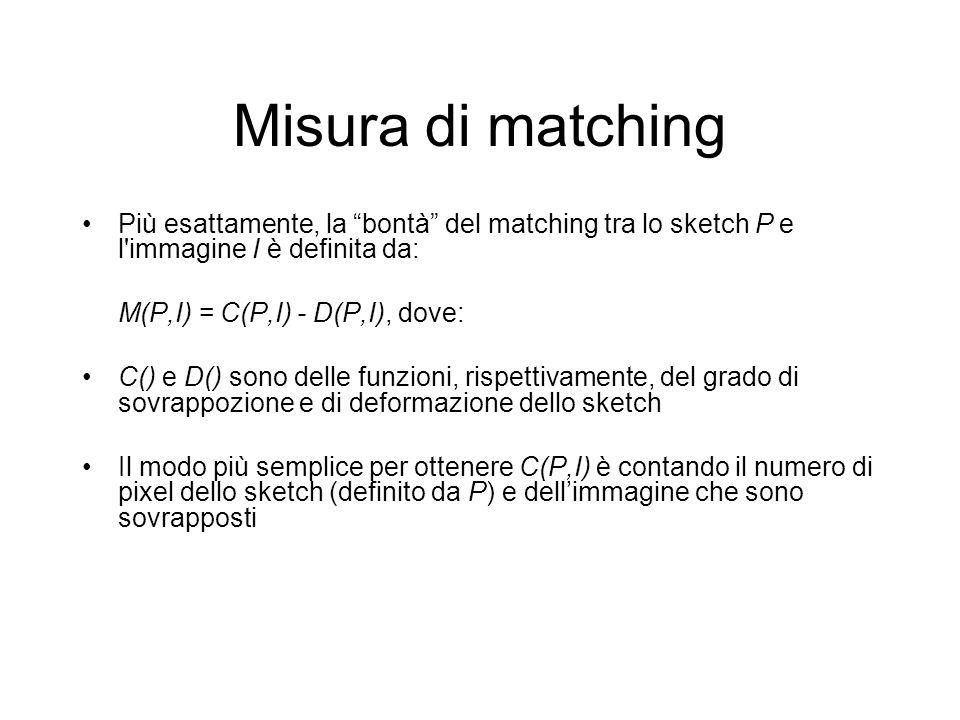 Misura di matching Più esattamente, la bontà del matching tra lo sketch P e l immagine I è definita da: M(P,I) = C(P,I) - D(P,I), dove: C() e D() sono delle funzioni, rispettivamente, del grado di sovrappozione e di deformazione dello sketch Il modo più semplice per ottenere C(P,I) è contando il numero di pixel dello sketch (definito da P) e dellimmagine che sono sovrapposti