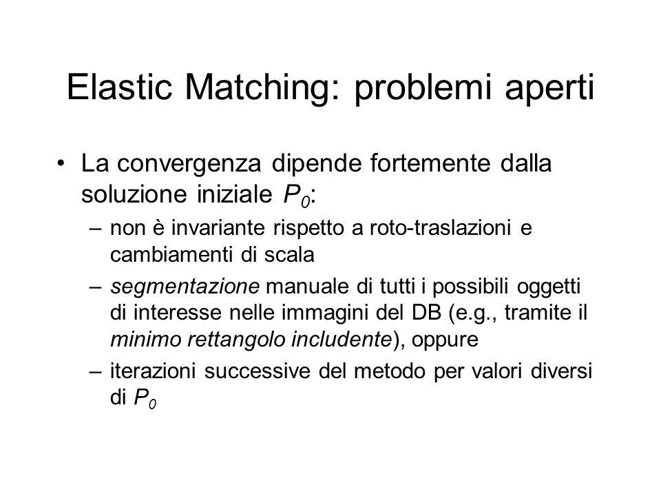 Elastic Matching: problemi aperti La convergenza dipende fortemente dalla soluzione iniziale P 0 : –non è invariante rispetto a roto-traslazioni e cambiamenti di scala –segmentazione manuale di tutti i possibili oggetti di interesse nelle immagini del DB (e.g., tramite il minimo rettangolo includente), oppure –iterazioni successive del metodo per valori diversi di P 0