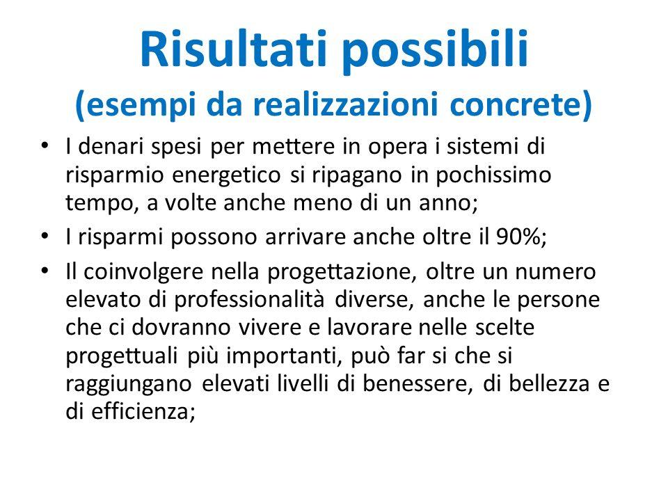 Risultati possibili (esempi da realizzazioni concrete) I denari spesi per mettere in opera i sistemi di risparmio energetico si ripagano in pochissimo