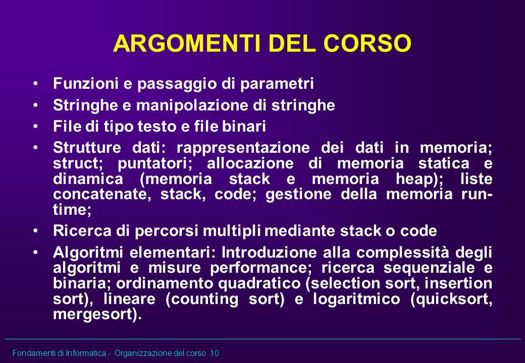 Fondamenti di Informatica - Organizzazione del corso 10 ARGOMENTI DEL CORSO Funzioni e passaggio di parametri Stringhe e manipolazione di stringhe Fil