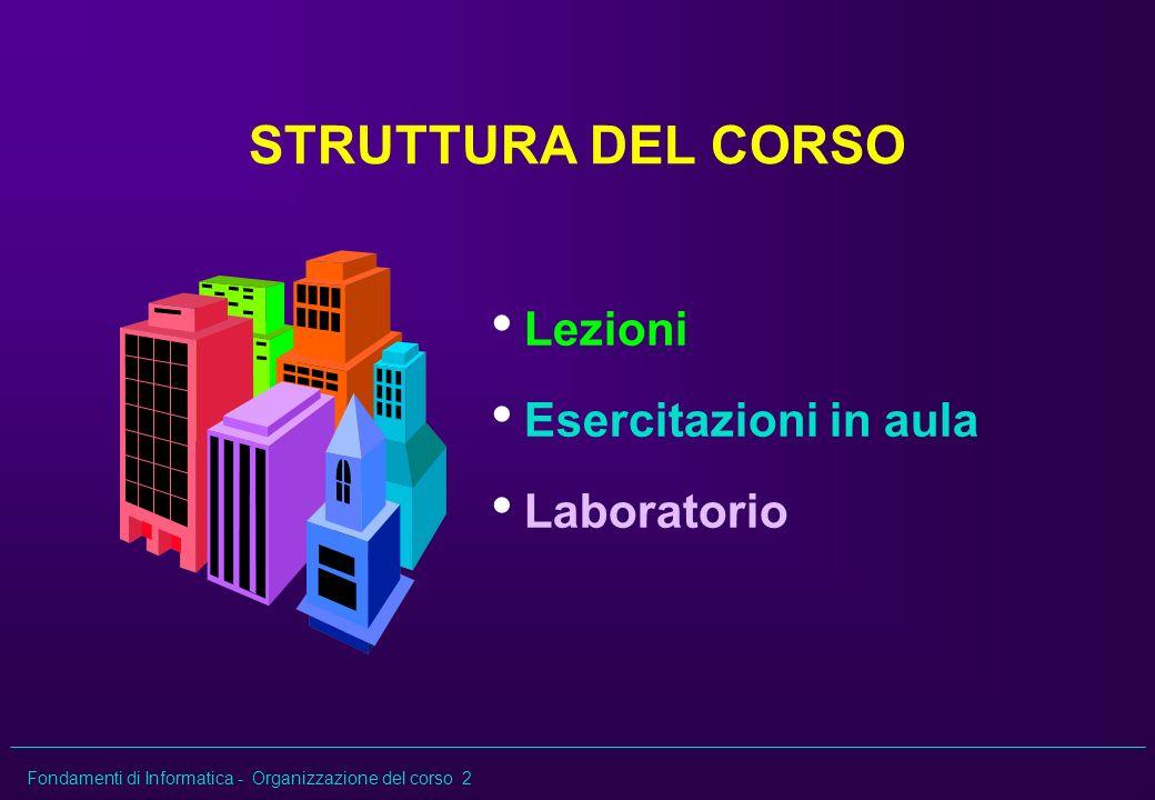 Fondamenti di Informatica - Organizzazione del corso 2 STRUTTURA DEL CORSO Lezioni Esercitazioni in aula Laboratorio