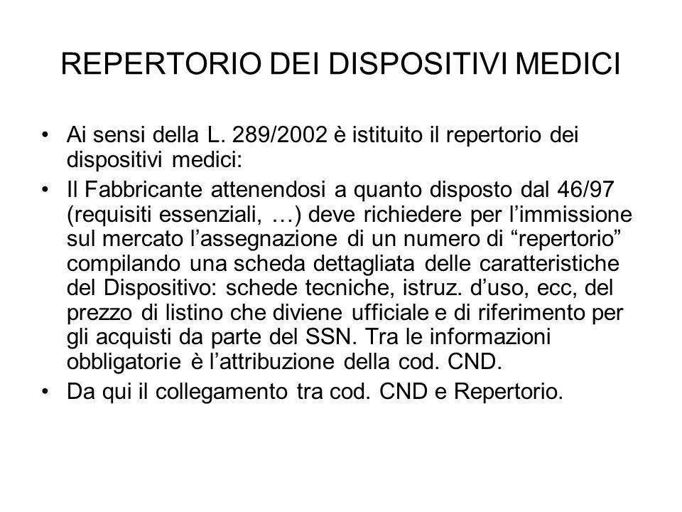 REPERTORIO DEI DISPOSITIVI MEDICI Ai sensi della L. 289/2002 è istituito il repertorio dei dispositivi medici: Il Fabbricante attenendosi a quanto dis
