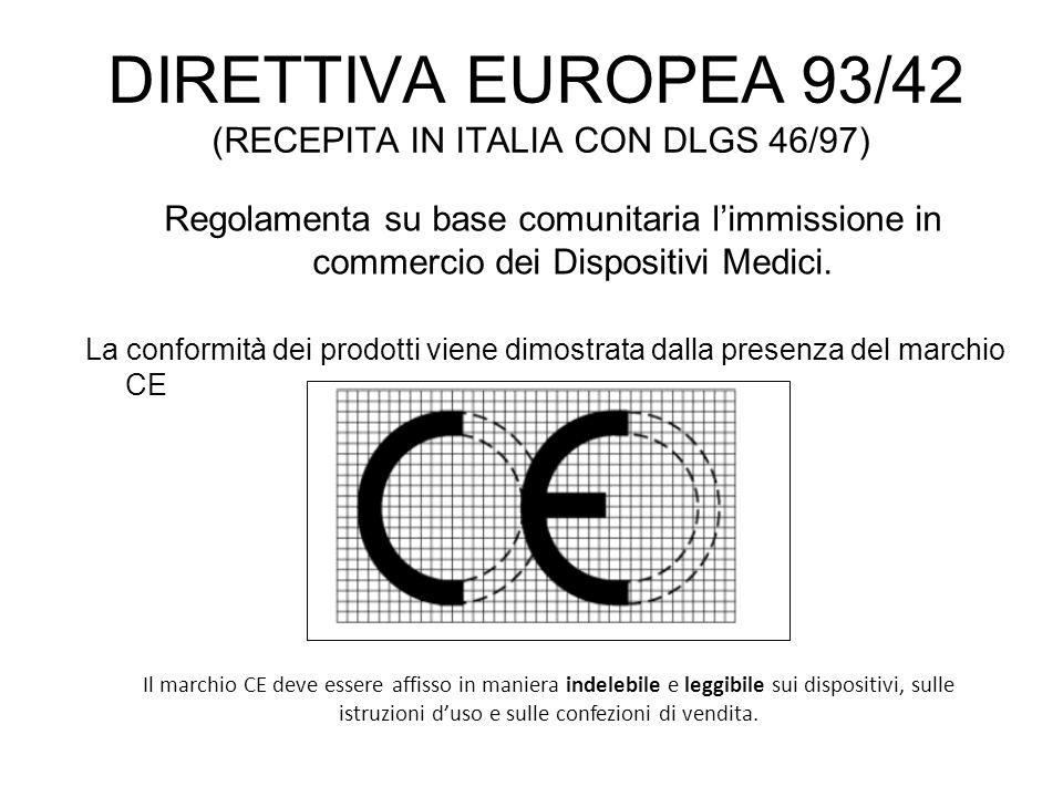 DIRETTIVA EUROPEA 93/42 (RECEPITA IN ITALIA CON DLGS 46/97) Regolamenta su base comunitaria limmissione in commercio dei Dispositivi Medici. La confor