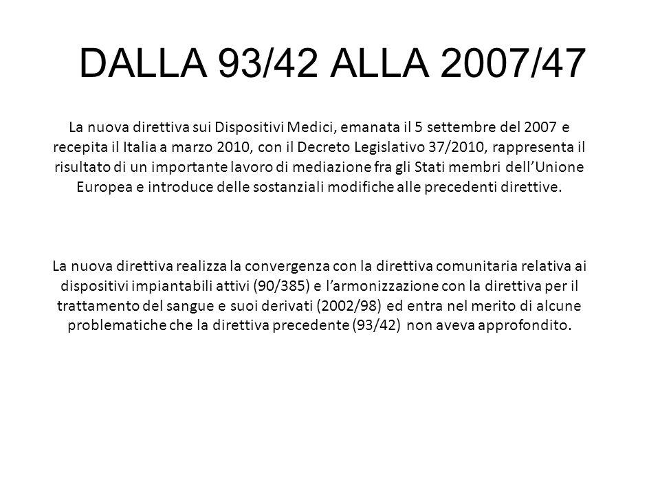 DALLA 93/42 ALLA 2007/47 La nuova direttiva sui Dispositivi Medici, emanata il 5 settembre del 2007 e recepita il Italia a marzo 2010, con il Decreto
