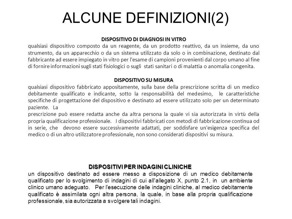 ALCUNE DEFINIZIONI(2) DISPOSITIVO DI DIAGNOSI IN VITRO qualsiasi dispositivo composto da un reagente, da un prodotto reattivo, da un insieme, da uno s
