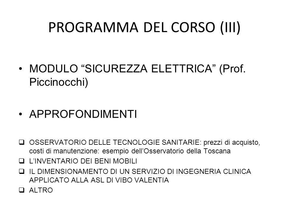 MODULO SICUREZZA ELETTRICA (Prof. Piccinocchi) APPROFONDIMENTI OSSERVATORIO DELLE TECNOLOGIE SANITARIE: prezzi di acquisto, costi di manutenzione: ese