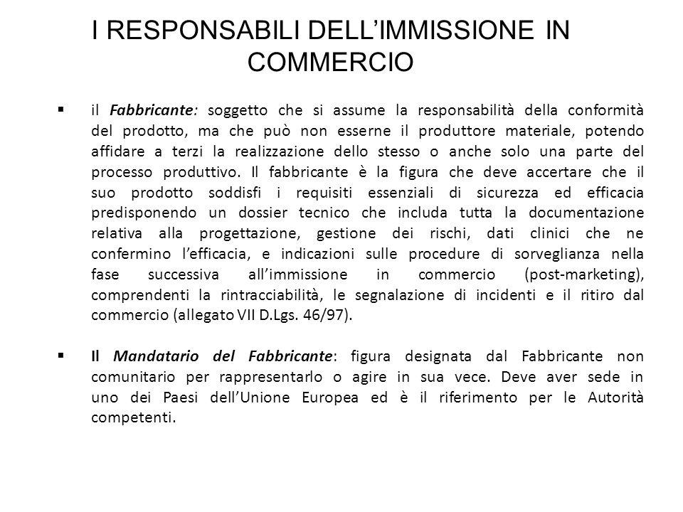 I RESPONSABILI DELLIMMISSIONE IN COMMERCIO il Fabbricante: soggetto che si assume la responsabilità della conformità del prodotto, ma che può non esse