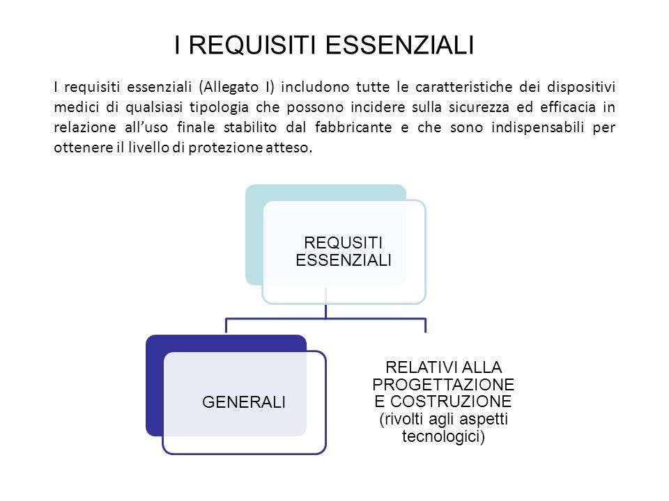 I REQUISITI ESSENZIALI I requisiti essenziali (Allegato I) includono tutte le caratteristiche dei dispositivi medici di qualsiasi tipologia che posson