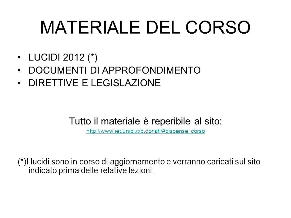 LUCIDI 2012 (*) DOCUMENTI DI APPROFONDIMENTO DIRETTIVE E LEGISLAZIONE Tutto il materiale è reperibile al sito: http://www.iet.unipi.it/p.donati/#dispe