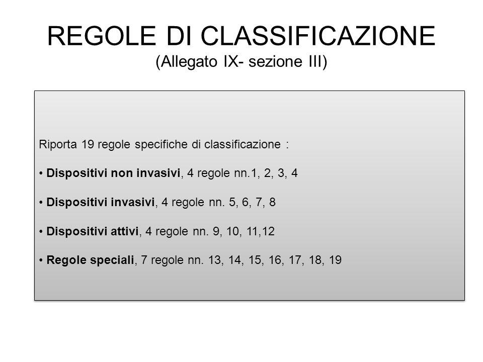 Riporta 19 regole specifiche di classificazione : Dispositivi non invasivi, 4 regole nn.1, 2, 3, 4 Dispositivi invasivi, 4 regole nn. 5, 6, 7, 8 Dispo