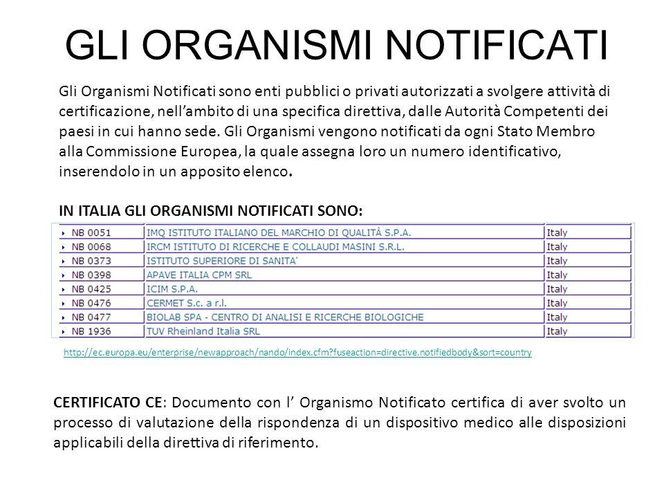GLI ORGANISMI NOTIFICATI Gli Organismi Notificati sono enti pubblici o privati autorizzati a svolgere attività di certificazione, nellambito di una sp
